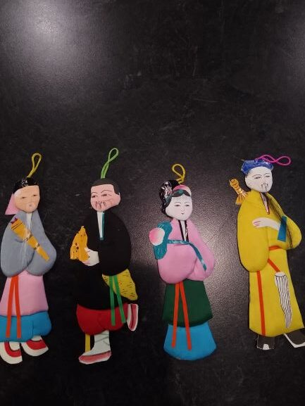 Chinese Silk Padded Paper Doll Ornaments